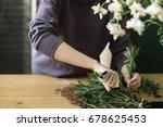 florist shop in daylight. woman ... | Shutterstock . vector #678625453