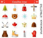 set of vector travel canadian... | Shutterstock .eps vector #678627763