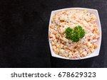 bowl of russian salad on dark... | Shutterstock . vector #678629323