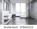 gray concrete bathroom interior ...   Shutterstock . vector #678631213