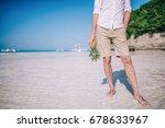 a young european men stands on... | Shutterstock . vector #678633967
