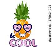 cute pineapples cartoon... | Shutterstock .eps vector #678634723