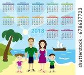 calendar 2018. vector template. ...   Shutterstock .eps vector #678637723