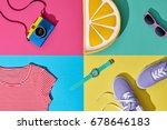 fashion summer hipster set.... | Shutterstock . vector #678646183