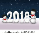 2 cute snowmen are looking to...   Shutterstock . vector #678648487
