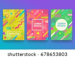 vector set of abstract memphis... | Shutterstock .eps vector #678653803