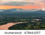 sunset behind hill and mekong... | Shutterstock . vector #678661057