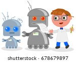 cute cartoon scientist with... | Shutterstock .eps vector #678679897