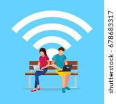 wi fi concept. couple young... | Shutterstock .eps vector #678683317