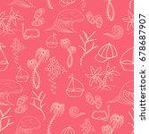hand drawn summer vector... | Shutterstock .eps vector #678687907