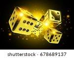 golden dice casino game 3d...   Shutterstock . vector #678689137