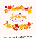 autumn is coming banner with... | Shutterstock .eps vector #678690523