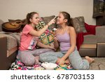 lovely young girls relax and... | Shutterstock . vector #678703153