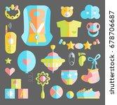 newborn infant themed cute flat ... | Shutterstock .eps vector #678706687
