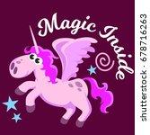 cute unicorn isolated set ... | Shutterstock .eps vector #678716263