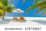 beach chairs  umbrella and... | Shutterstock . vector #678730867