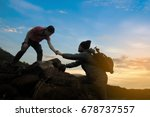 two friends helping each other... | Shutterstock . vector #678737557