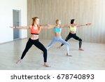 yoga practice exercise class... | Shutterstock . vector #678740893