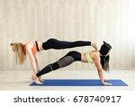 yoga practice exercise class... | Shutterstock . vector #678740917