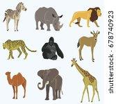 african animals cartoon vector... | Shutterstock .eps vector #678740923