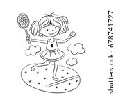 girl playing tennis in a meadow ...   Shutterstock .eps vector #678741727
