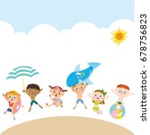 children to jump on the beach | Shutterstock .eps vector #678756823