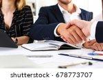 man in suit shake hand as hello ... | Shutterstock . vector #678773707