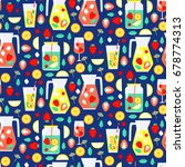 seamless pattern with summer... | Shutterstock .eps vector #678774313