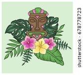 tropical arrangement with tiki...   Shutterstock .eps vector #678778723