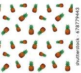 tropical ananas pineapple fruit ... | Shutterstock . vector #678779443