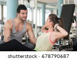 personal trainer showing young... | Shutterstock . vector #678790687