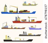 cargo ship side view. | Shutterstock .eps vector #678798157
