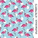 pink flamingo watercolor pattern | Shutterstock . vector #678798973