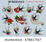 set of sparrows. vector... | Shutterstock .eps vector #678817567