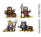 cartoon medieval set of