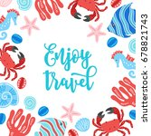 summer greeting card with crab  ... | Shutterstock .eps vector #678821743
