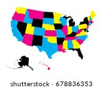 political map of usa  united... | Shutterstock .eps vector #678836353