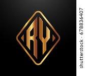 golden monogram logo curved... | Shutterstock .eps vector #678836407