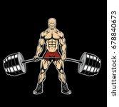 an evil bodybuilder lifts a... | Shutterstock .eps vector #678840673