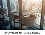 two modern chair and circle... | Shutterstock . vector #678850087