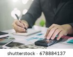 business man doing finances on... | Shutterstock . vector #678884137