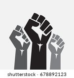 raised three fists set... | Shutterstock .eps vector #678892123