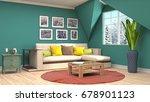 interior living room. 3d... | Shutterstock . vector #678901123