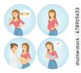 pregnancy illustrations set. | Shutterstock .eps vector #678905653
