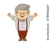 portrait happy grandfather man...   Shutterstock .eps vector #678960667