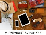 vacation travelling background. ...   Shutterstock . vector #678981547