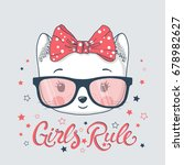 cute cat with glasses. girls...   Shutterstock .eps vector #678982627