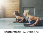 young women in yoga class ... | Shutterstock . vector #678986773