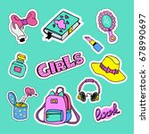 fashion patch badges with book  ... | Shutterstock . vector #678990697