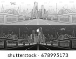 railway bridge over wide... | Shutterstock .eps vector #678995173